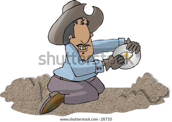 Clipart illustration of a man panning for gold