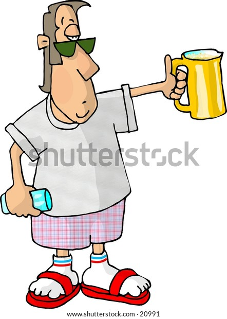 Clipart illustration of a man with a pitcher of beer in one hand and a glass in the other.