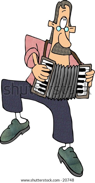 Clipart illustration of a man playing the accordion.