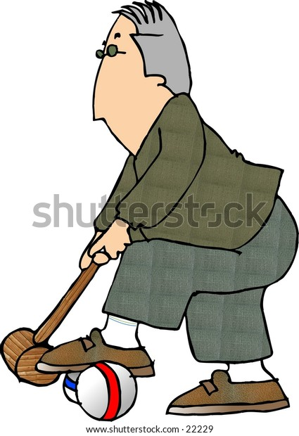 Clipart illustration of man playing croquet.