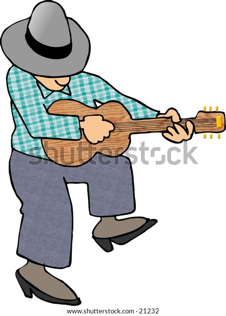 Clipart illustration of a man playing a guitar.