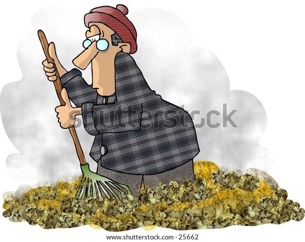 Clipart illustration of a man raking leaves.
