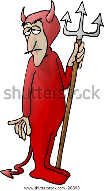 Clipart illustration of a man in a red devil costume.