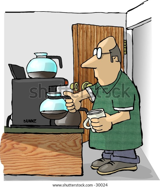 Clipart illustration of a man refilling his coffee cup