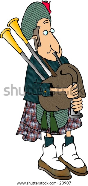 Clipart illustration of a man in traditional Scottish attire playing the bagpipe.