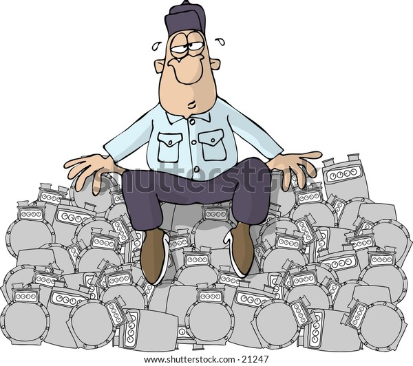 Clipart illustration of a man in uniform sitting on a pile of gas meters.