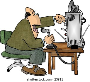 Clipart illustration of a man using a ham radio.