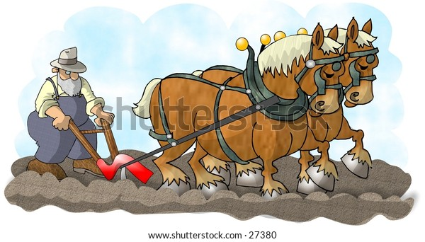 Clipart illustration of a man using a plow pulled by two large horses.