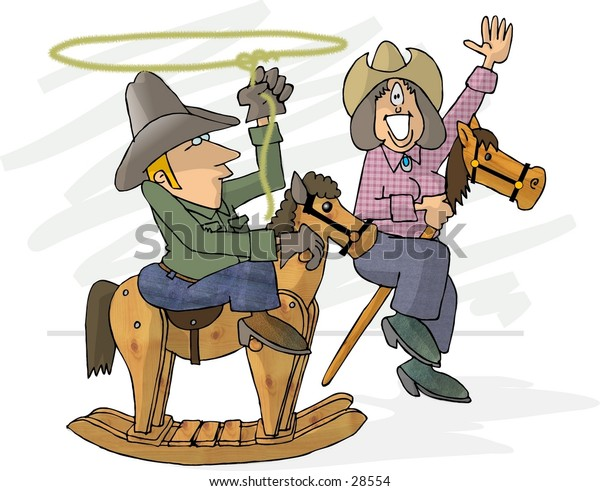Clipart illustration of a man and woman on toy horses.