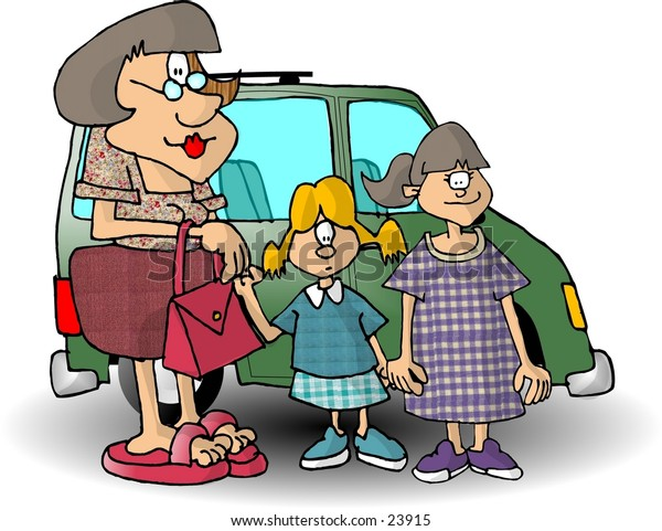 Clipart illustration of a mom and 2 daughters standing in front of a mini van.