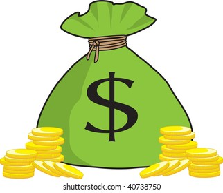 clipart illustration bunch money bags golden stock illustration rh shutterstock com Piggy Bank Clip Art bag of money clipart