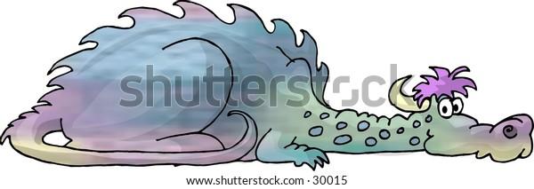 Clipart illustration of a multi-colored dragon