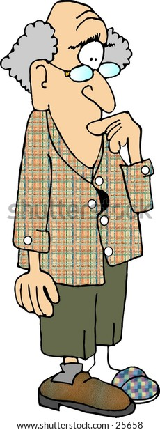 Clipart illustration of an old man with dimentia.