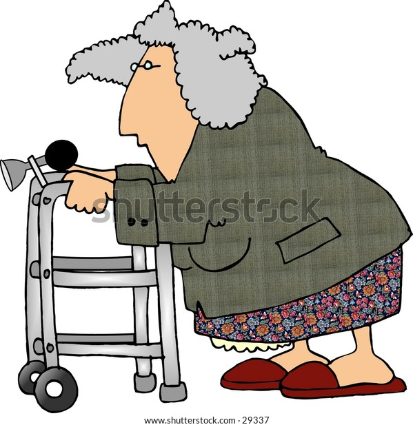 Clipart illustration of an old woman using a walker.