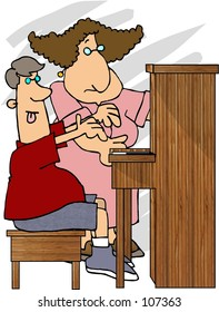 Clipart illustration of a piano teacher & student