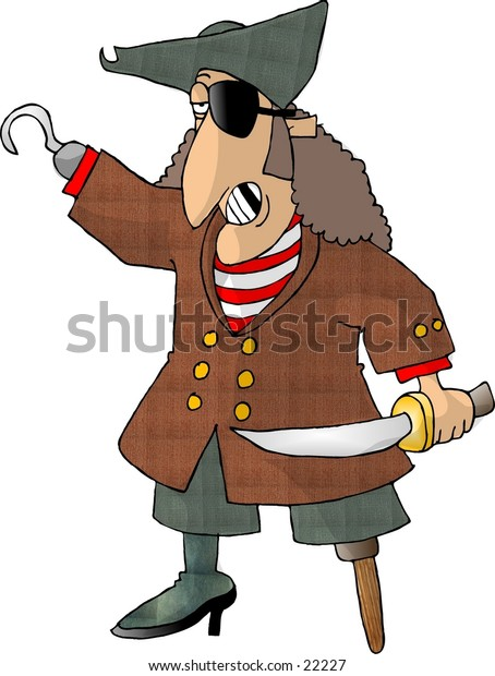 Clipart illustration of a pirate with a peg leg, eye patch and hook.