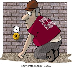 Clipart illustration of a plumbers crack