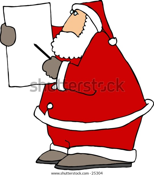 Clipart illustration of Santa Claus pointing to a blank poster.