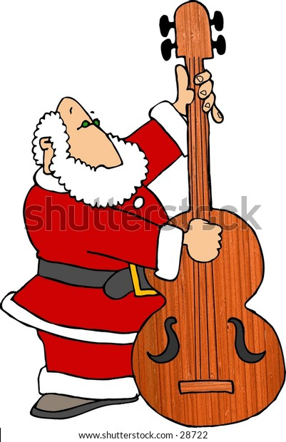 Clipart illustration of Santa playing a bass fiddle.