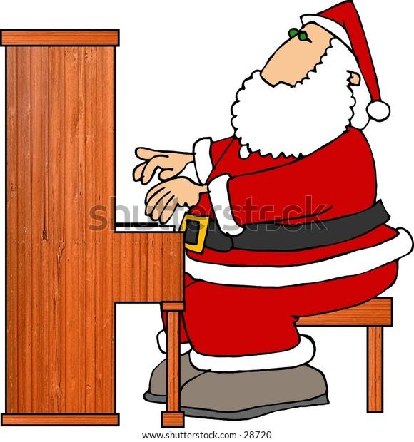 Clipart illustration of Santa playing a piano.