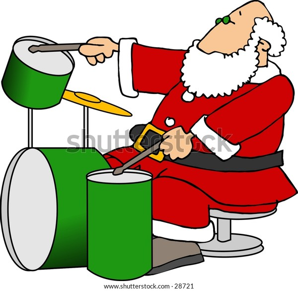 Clipart illustration of Santa playing a set of drums.