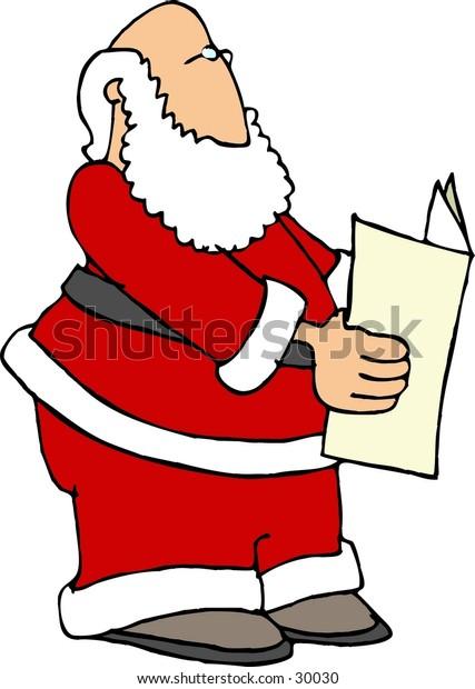 Clipart illustration of Santa reading a paper