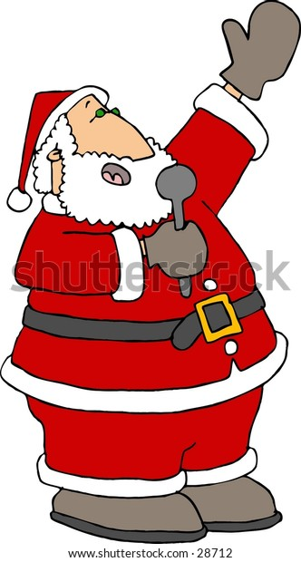 Clipart illustration of Santa singing