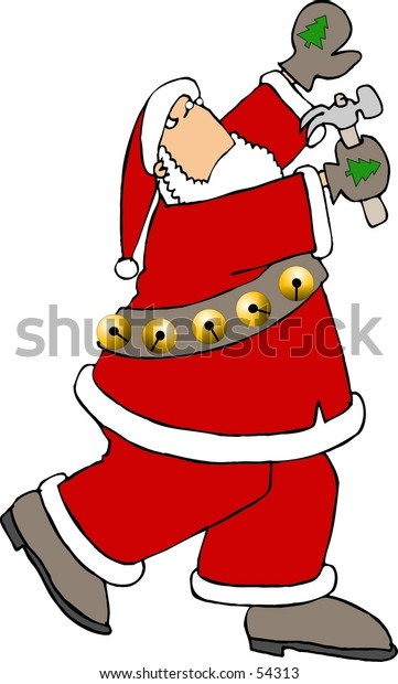 Clipart illustration of Santa using a hammer