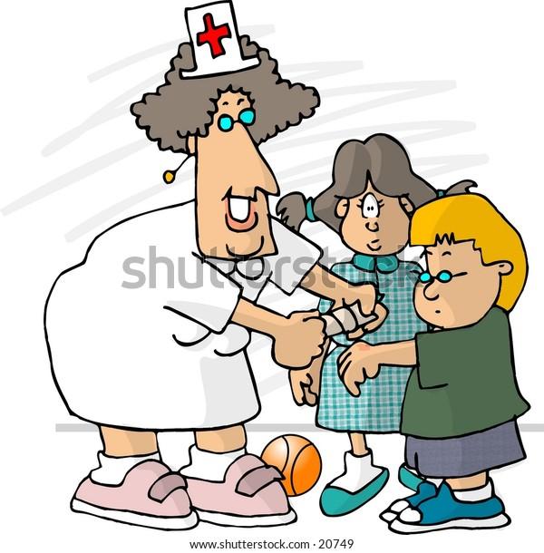 Clipart illustration of a school nurse putting a bandaid on a small boy.