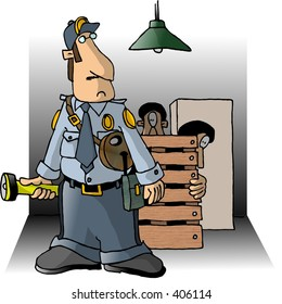 Clipart illustration of a Security Guard