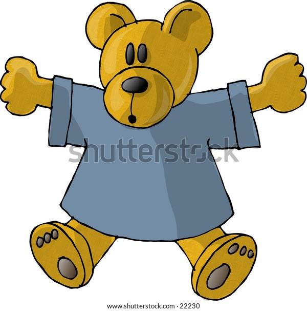 Clipart illustration of a stuffed teddy bear.