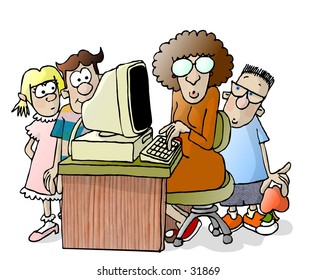 Clipart illustration of a teacher and 3 students around a computer.