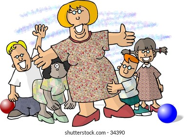 Clipart illustration of a teacher and four kids
