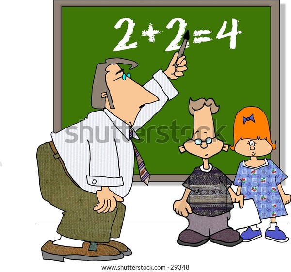 Clipart illustration of a teacher and two students.