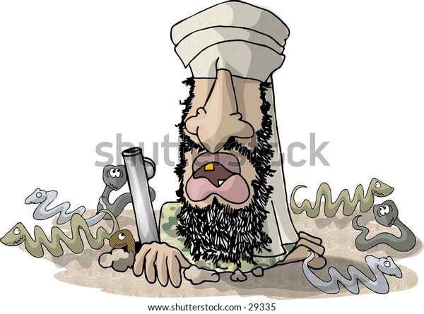 Clipart illustration of a terrorist in a head scarf peering out of a hole in the ground.