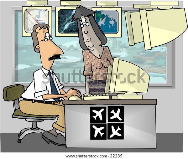 Clipart illustration of two air traffic controllers.