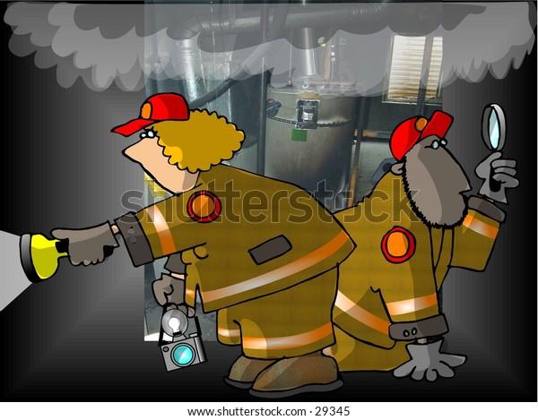 Clipart illustration of two fire investigators.