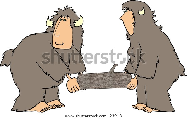 Clipart illustration of two, hairy beasts with human faces carrying a large log.