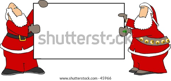 Clipart illustration of two Santas holding a blank sign