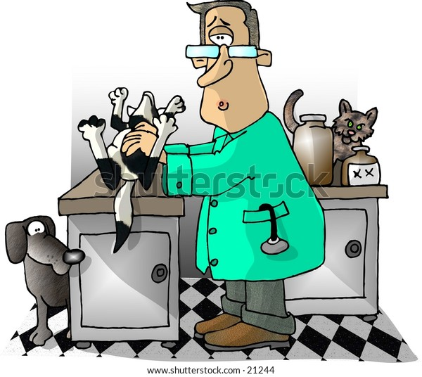 Clipart illustration of a veterinarian checking a dog.