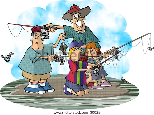 Clipart illustration of a woman and 3 children fishing