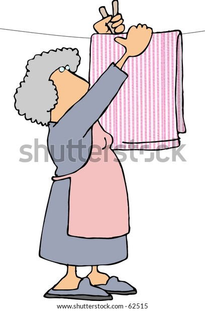 Clipart Illustration Woman Hanging Sheets On Stockillustration 62515