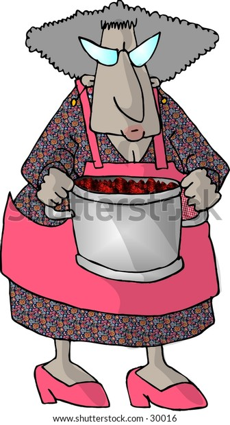 Clipart illustration of a woman holding a large pot