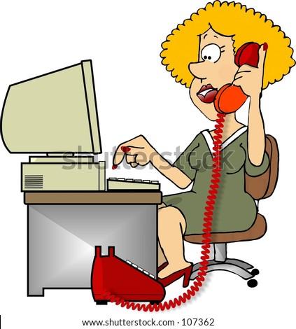Clipart Illustration Woman On Phone Stockillustration 107362 ...