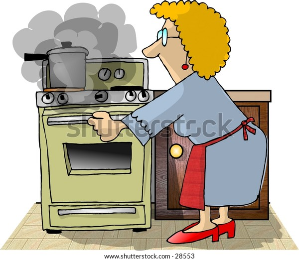 Clipart illustration of a woman opening an oven door.