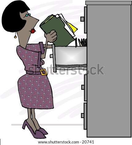 Clipart illustration of a woman putting files in a filing cabinet.