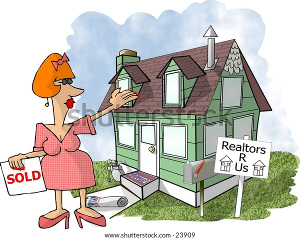 Clipart illustration of a woman realtor standing in front of a house with a for sale sign.