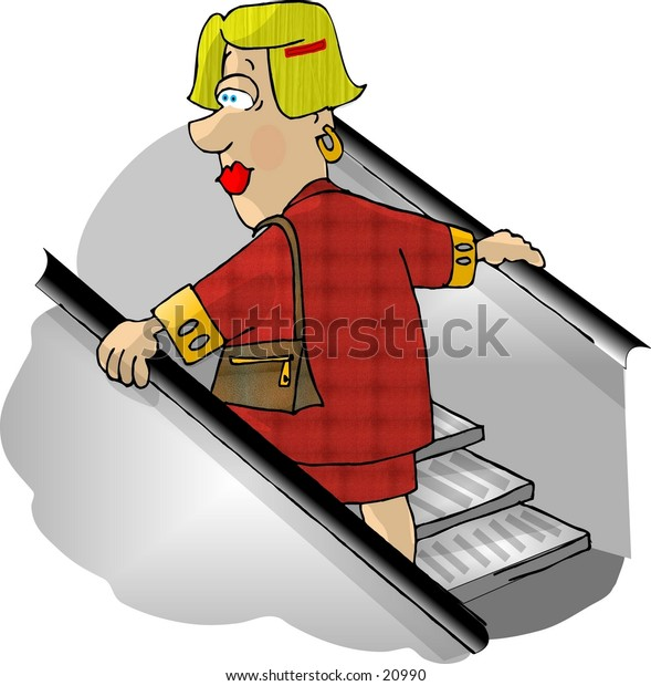 Clipart illustration of a woman riding a store escalator.