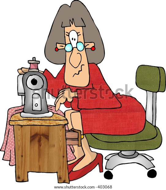 Clipart illustration of a woman sewing