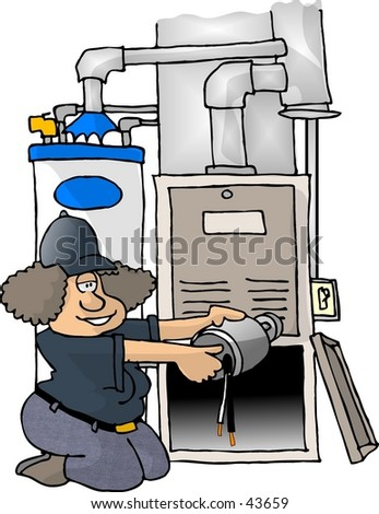 Clipart illustration of a woman working on a furnace